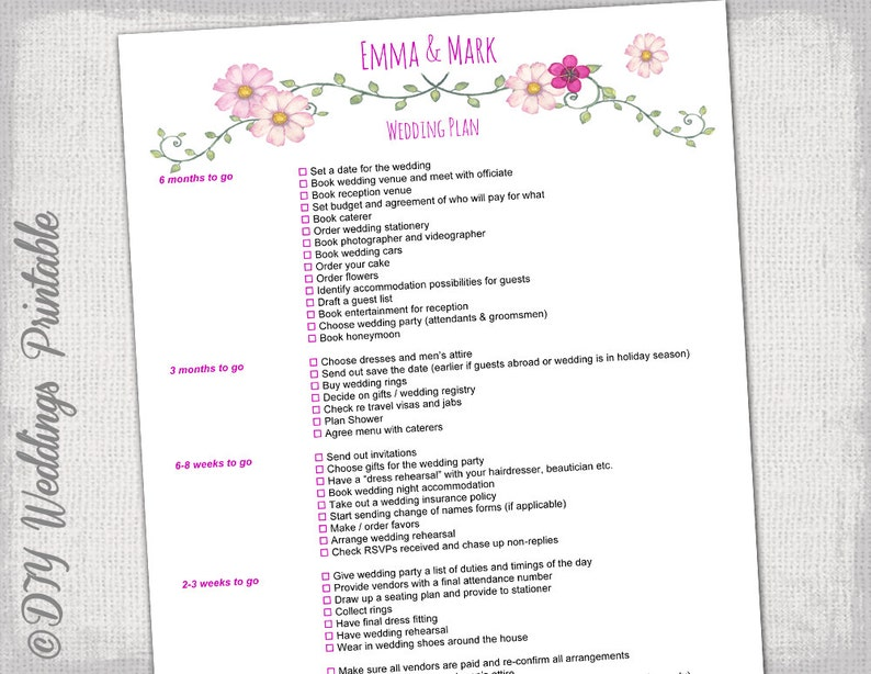 Wedding Checklist To Do List Wedding Planner Timeline Etsy