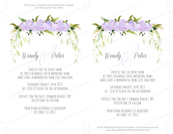 printable wedding invitation suite templates flower invitations tutti lavender editable digital instant download you edit word template