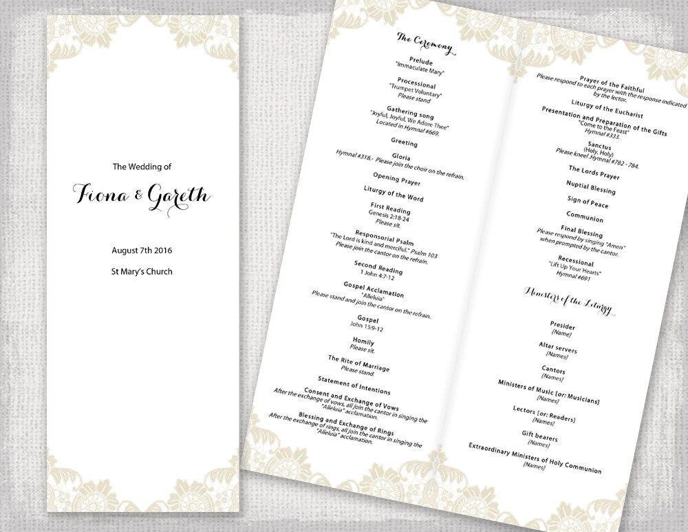 Champagne wedding program template