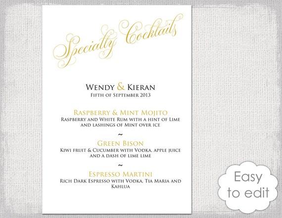 Cocktail Menu template Printable gold wedding signature drinks | Etsy
