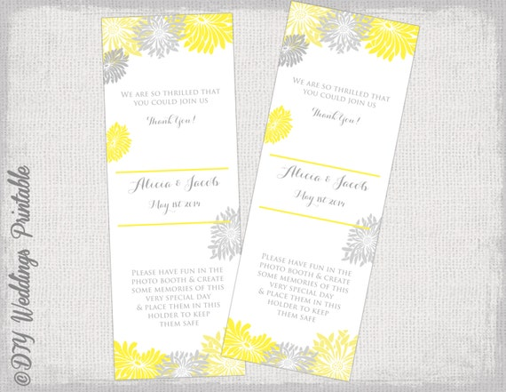Photo Booth Frame Insert Template Yellow And Gray Gerber Daisy Etsy