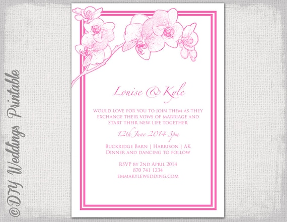 Blue Orchid Wedding Invitations: Orchid Wedding Invitation Template Pink Orchid