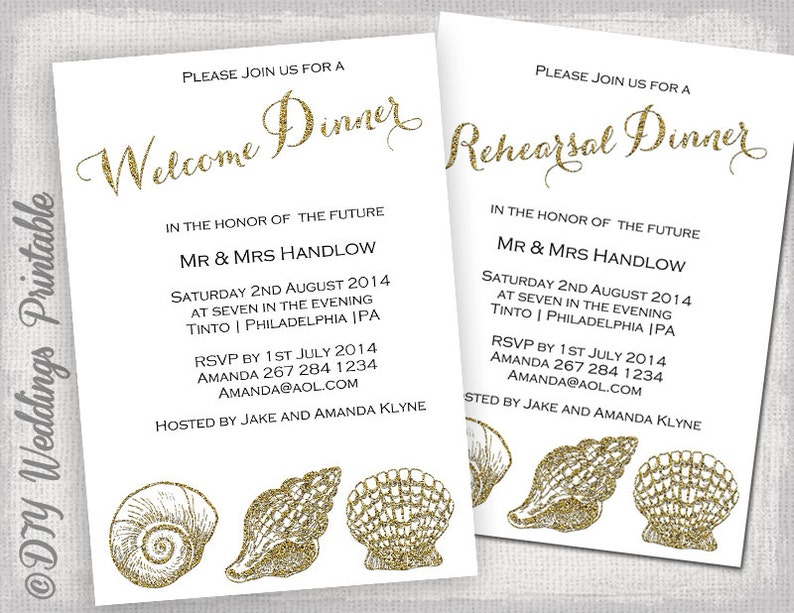 Rehearsal Dinner Invitation Template Welcome Invite Gold Glitter Beach DIY Printable Shell Templates YOU EDIT In Word