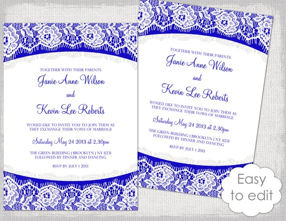 Lace Wedding Invitation Template Royal Blue Linen Etsy