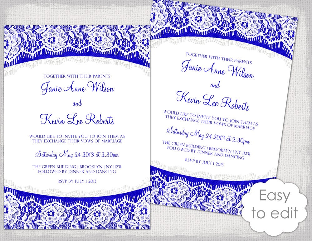Lace Wedding Invitation Template: Lace Wedding Invitation Template Royal Blue Linen &