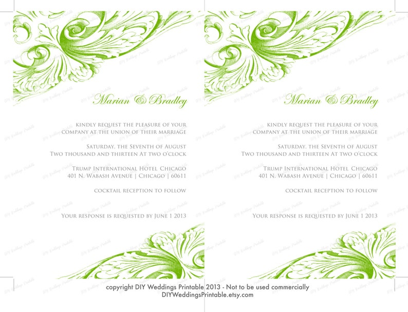 Wedding Invitation Template Green Diy Wedding Invitations Vintage Scroll Printable Invites Apple Green Editable Word Template Download
