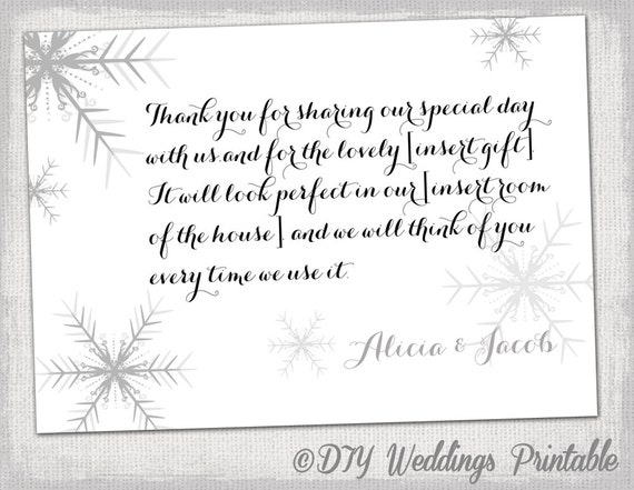 Snowflake Thank You Card Template Snowflake Winter Etsy