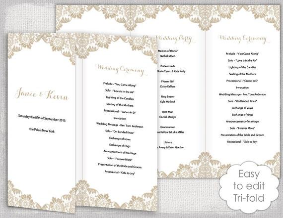 lace wedding program template antique lace diy etsy