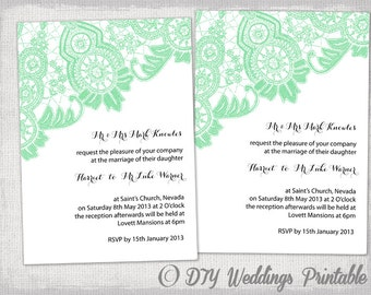 Wedding invitation template antique lace diy diy wedding invitation template editable mint green antique lace wedding invitations printable invites filmwisefo