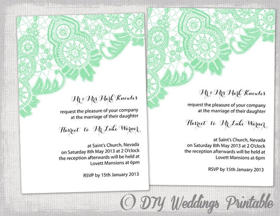 diy wedding invitation template editable mint green etsy