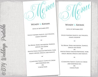 "Wedding menu template Turquoise blue wedding menu DIY wedding menu template ""Parfumerie"" Aqua Ocean digital printable menu Word download"