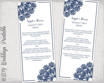 "Wedding menu template - DIY navy wedding menu ""Lace Doily"" digital printable menu - Boho Editable menu template - download"