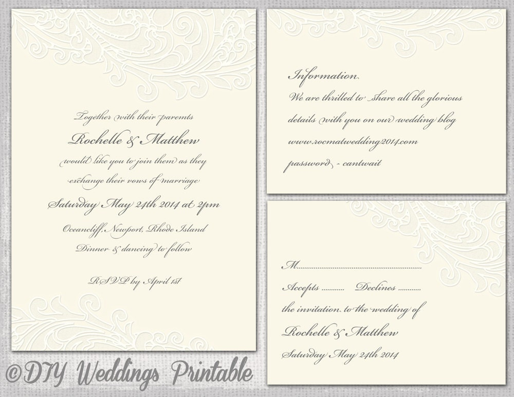 ivory wedding invitation template rsvp enclosure templates