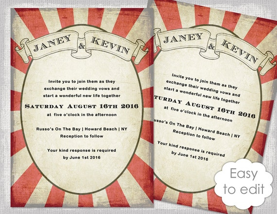 carnival invitation template printable wedding invitations etsy