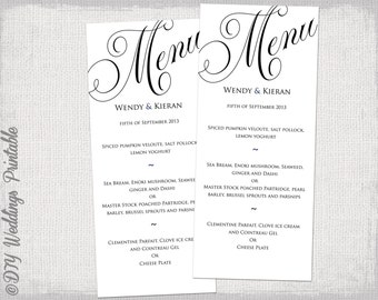 "Menu template black and white wedding menu DIY wedding menu template ""Parfumerie"" black digital printable menu - instant download"