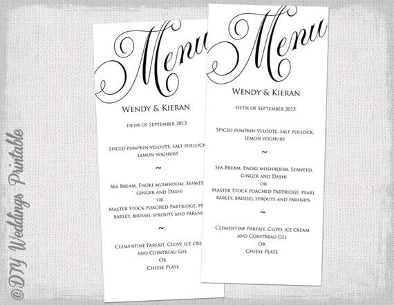 Diy Wedding Menu Template | Menu Template Black And White Wedding Menu Diy Wedding Menu Etsy