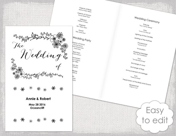 Wedding program booklet Template Printable floral | Etsy