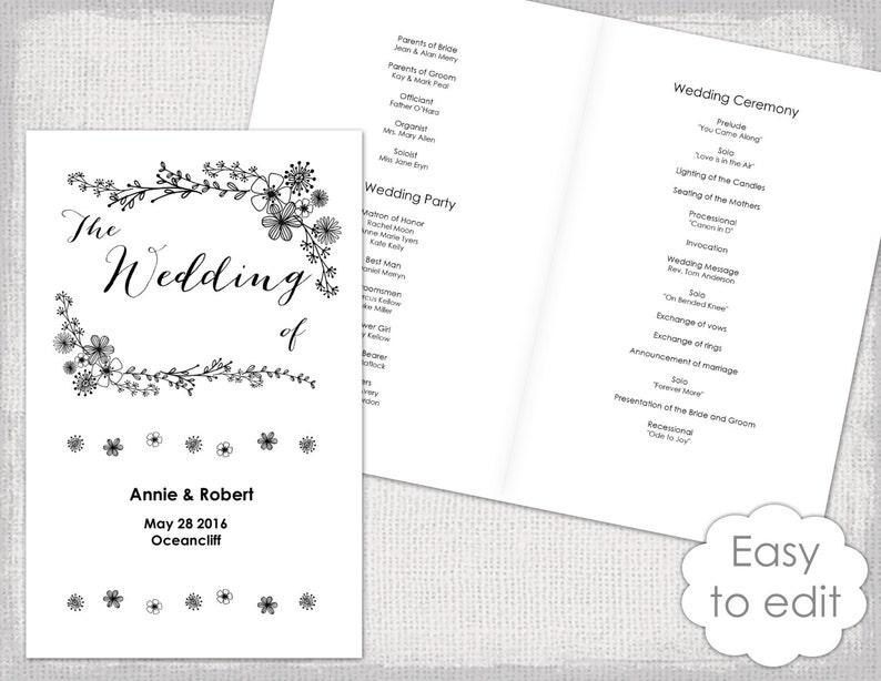 Wedding Program Booklet Template Printable Floral Etsy