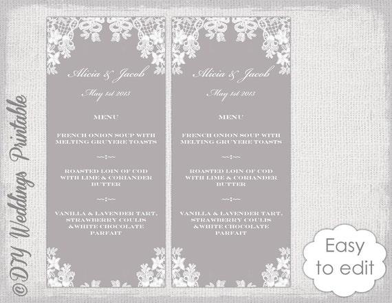 Hochzeit Menü Vorlage Floraler Spitze druckbare | Etsy