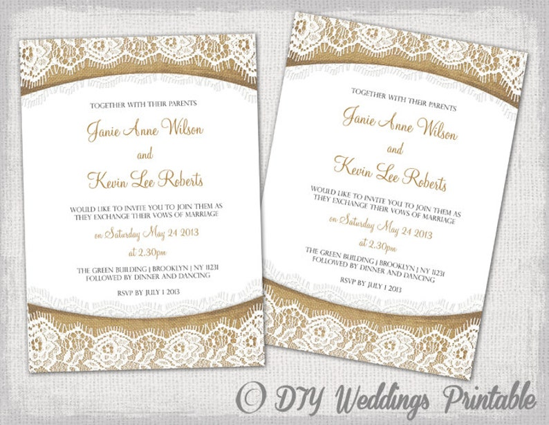 Rustic Lace Wedding Invitation Template Burlap Invitations Printable Ecru Invite Templates Digital YOU EDIT Word Download