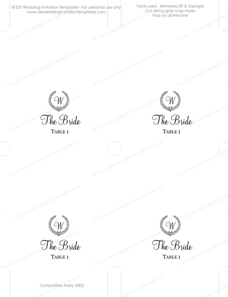 Printable place card template Rustic