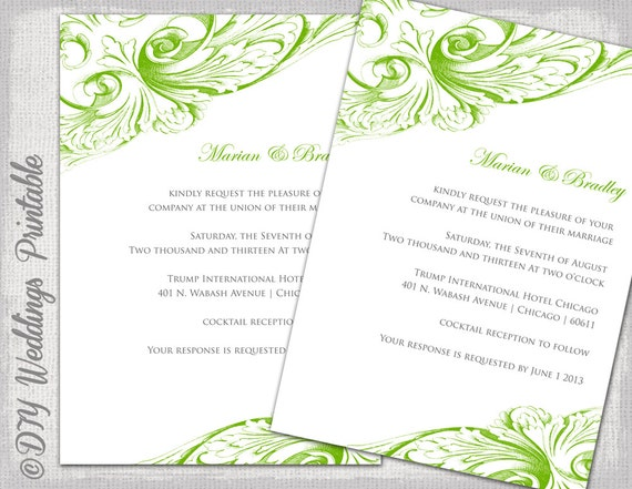 wedding invitation template green diy wedding invitations etsy