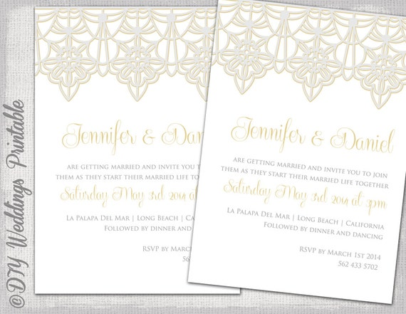 Wedding Invitation Template Lace Trim Silver Gold Invitations Digital Printable Invite Word YOU EDIT Instant Download