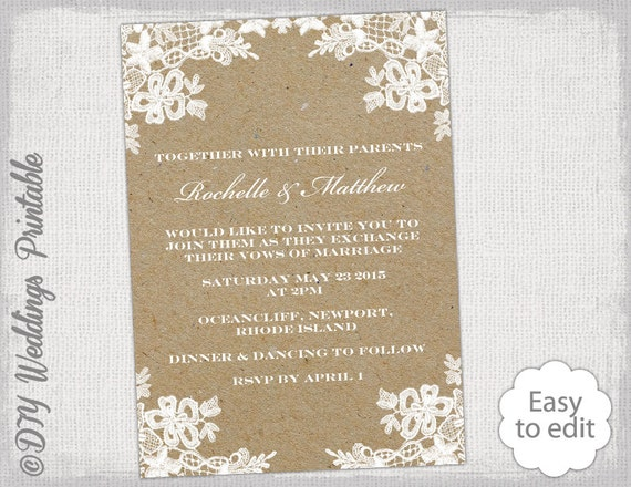 Rustic Wedding Invitation Template Diy Rustic Lace Wedding Invitations Portrait Kraft Printable Ecru Invites You Edit Word Download
