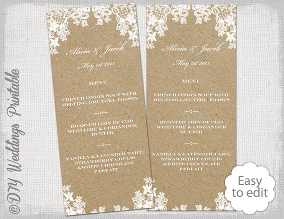 rustic wedding menu template rustic lace printable etsy