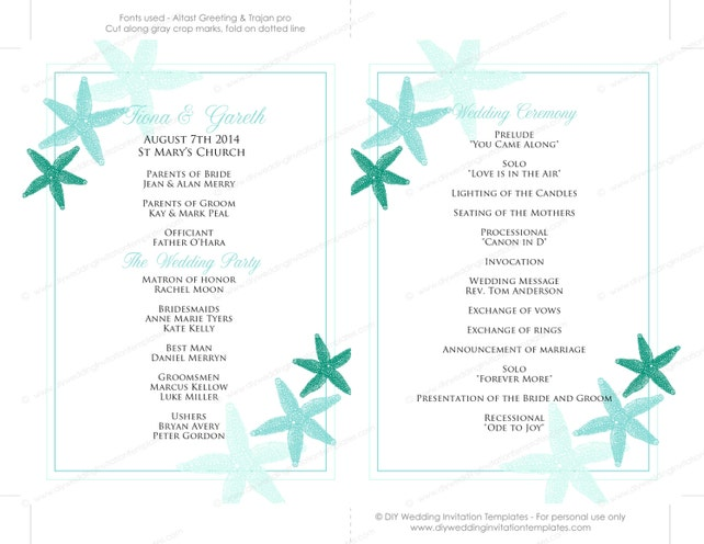 Fan Programs For Weddings Template Starfish Beach Wedding Program Printable Green Aqua Word Download YOU Edit Instant