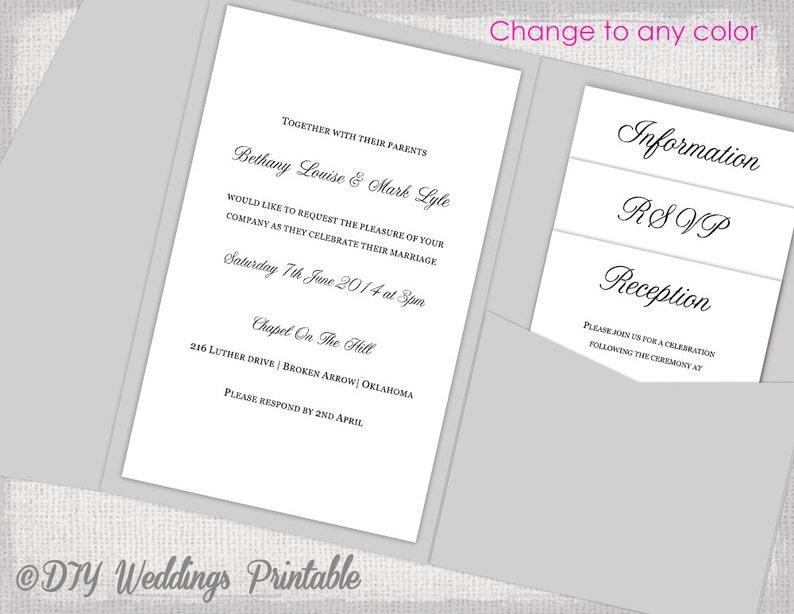 Pocket Wedding Invitations Template Diy Pocketfold Wedding Etsy