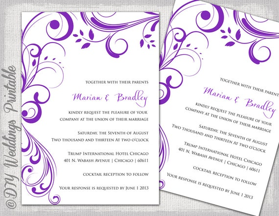 Wedding Invitation Templates Purple Scroll Etsy