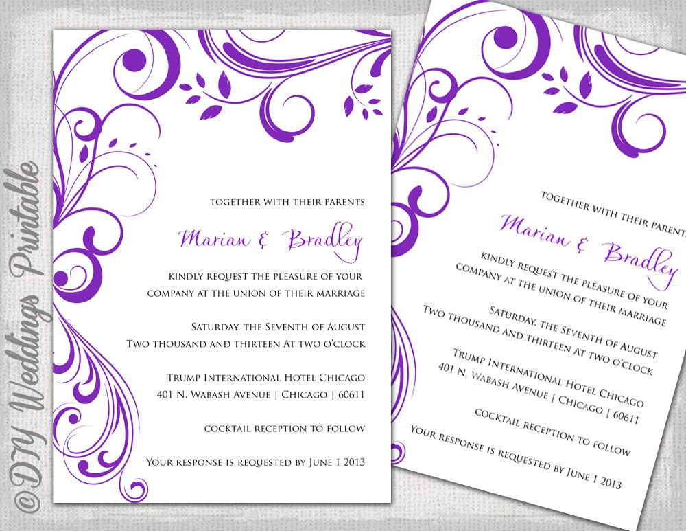 wedding invitation templates purple scroll