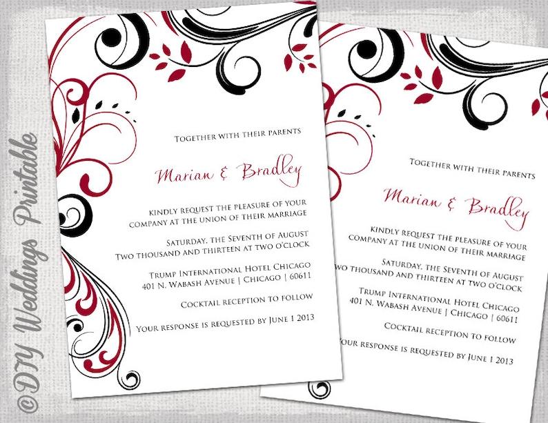 Wedding Invitation Templates Apple Red And Black Scroll Invitations Printable Dark Instant Download