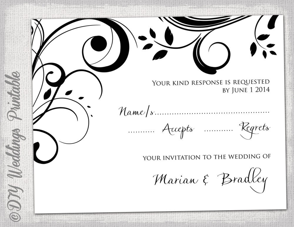 Rsvp Template Download Diy Black And White Scroll Etsy