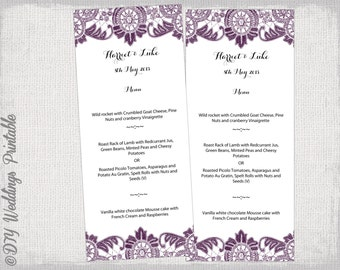 "printable Menu template plum purple DIY wedding menu template ""Antique Lace"" digital menu in Eggplant YOU EDIT template - instant download"