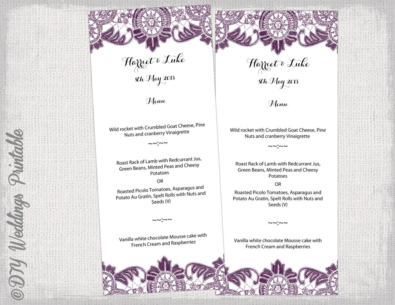 Printable Menu Template Plum Purple Diy Wedding Menu Template Etsy