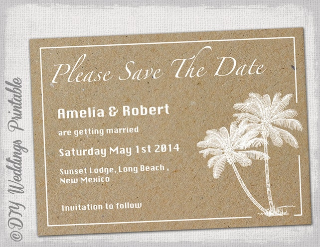 Beach Save The Date Templates Diy Destination Palm Tree Wedding