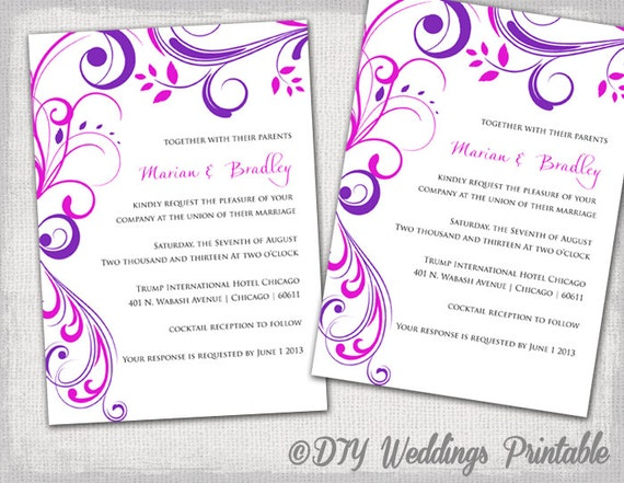 Wedding Invitation Templates Purple And Pink Etsy