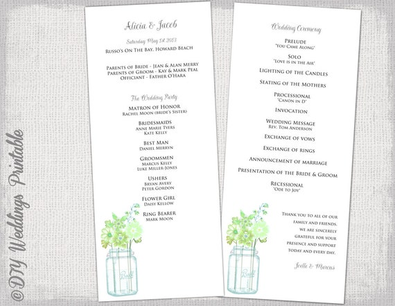 wedding program template mason jar green wedding etsy