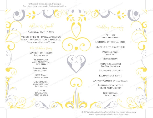 Wedding Program Fan Template Scroll Sunbeam Yellow Silver Gray DIY Order Of Ceremony Printable Programs YOU Edit Word Download