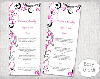 "Wedding Menu template Black and hot pink DIY printable menu ""Scroll"" digital menu tea length  -YOU EDIT Word template - instant download"