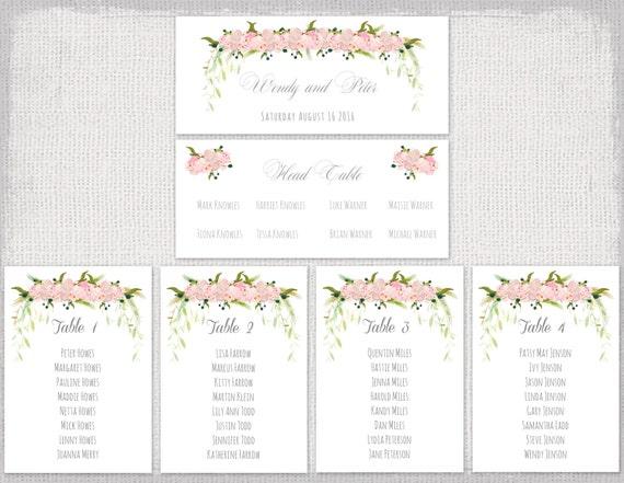 Hochzeit Sitzmöbel Diagramm Vorlage rosa Blume garland | Etsy