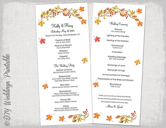 fall wedding program template fall leaves etsy