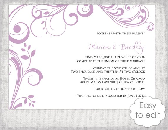 printable wedding invitation template scroll diy etsy