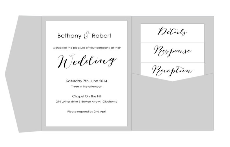 Pocket Wedding Invitation Template Printable Diy Pocket Fold Etsy