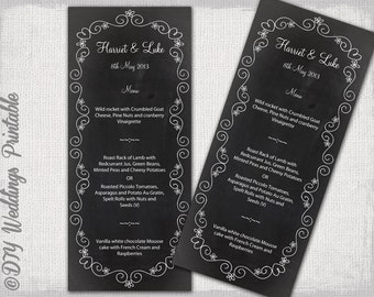 "Wedding menu template -""Chalkboard"" black & white wedding menu -DIY wedding menu template, digital printable menu -EDITABLE instant download"
