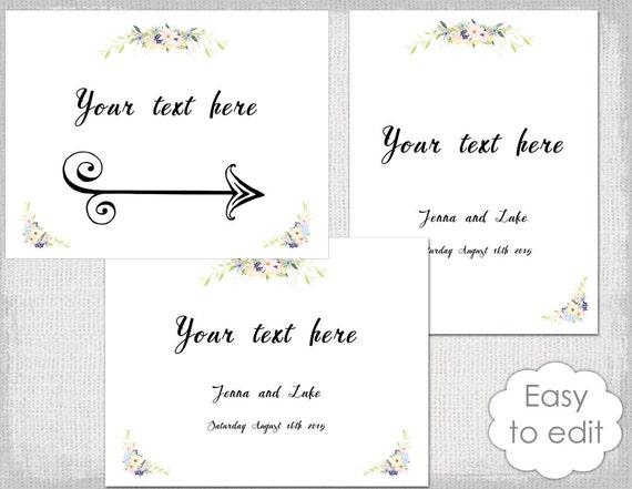 Printable Wedding Sign Templates Eden Rustic Etsy