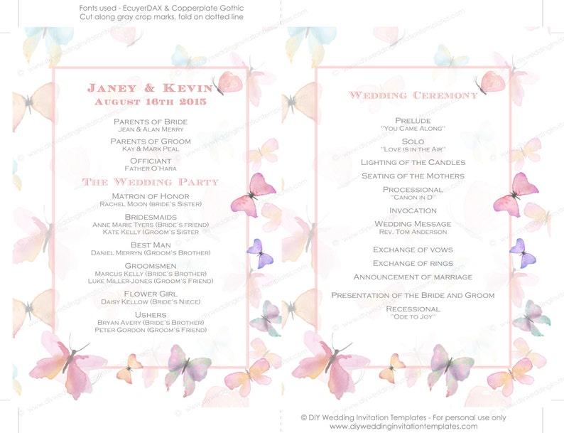 Wedding fan program template pastel pink