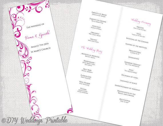 A4 Wedding Order Of Service Template Begonia Pink Etsy